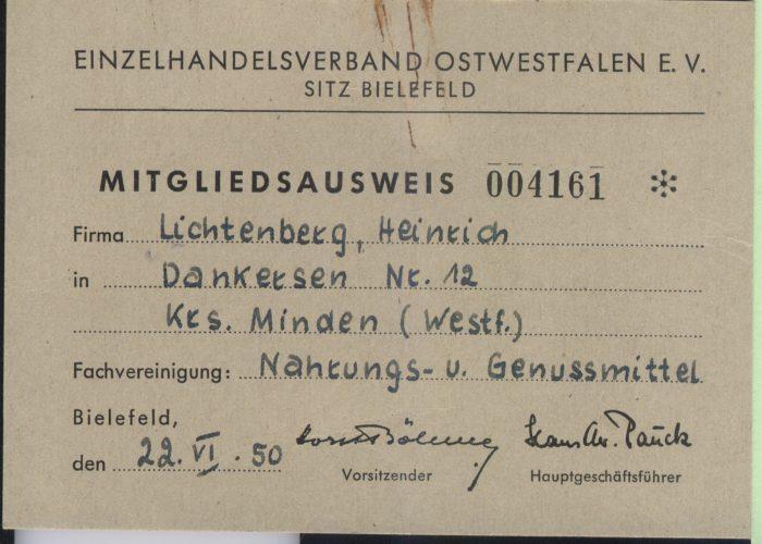 Mitgliedsausweis Einzelhandelsverband 1950 Lichtberg