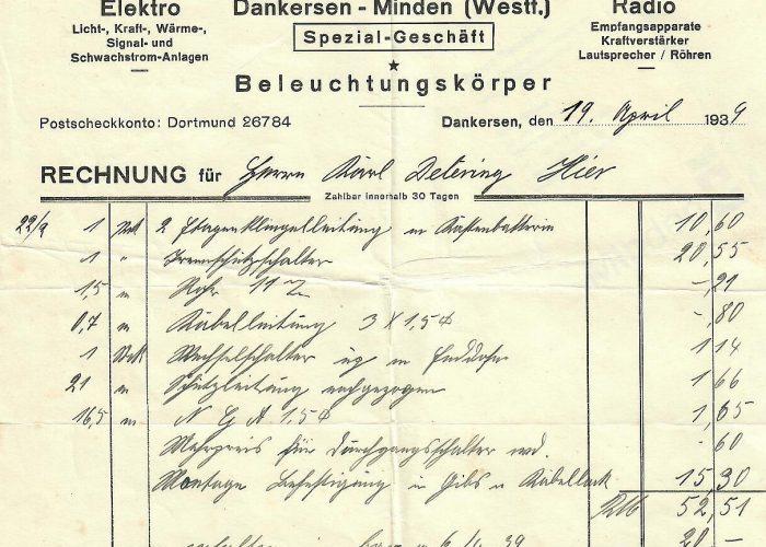 Rechnung Deutsche Schrift 1939