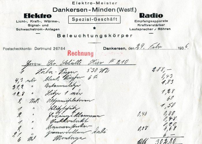 Rechnung Rust 1936 v. Krückemeier 2011