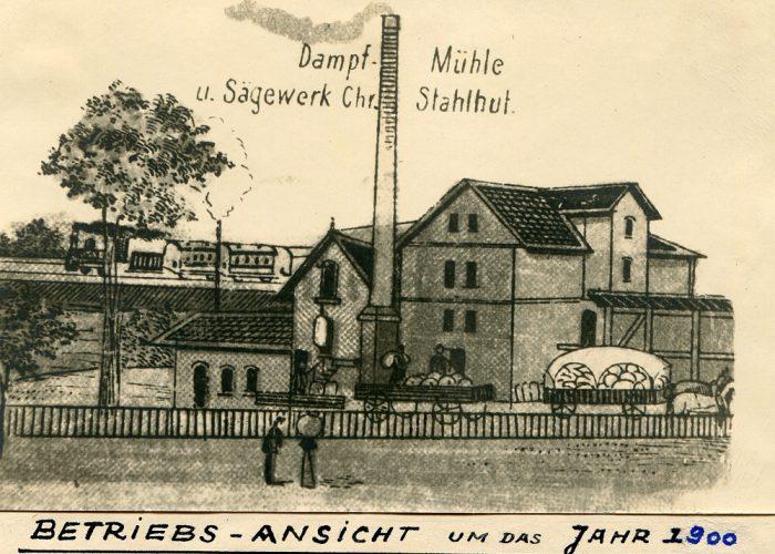 Skizze Mühle um 1900